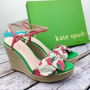 NIB Kate Spade Strawberry Print Janae Wedge Sandal